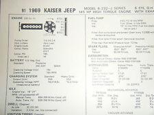 1969 KAISER JEEP J SERIES 232 CU IN 145 HP 6 CYLINDER SUN TUNE UP SPECS SHEET