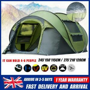 4-6 Person Hydraulic Camping Automatic Pop Up Tent Waterproof Outdoor Hiking UK