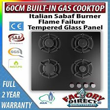 Adelchi Heavy Duty 4 Burner 60cm Built-in Black Glass Gas Cooktop Stove Hob Wok