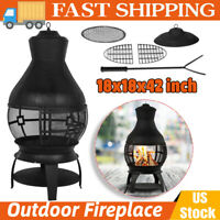 "42"" Chiminea Outdoor Fire Pit Fireplace Patio Firepit Wood Burning Heater Iron"