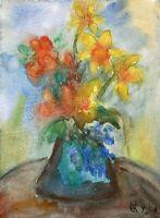 Expressives Stillleben Blumenstrauß mit Narzissen Osterglocken Frühlingsblüher
