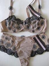 Simone Perele ROMANCE 12B /34B Demi Bra Sz 1 Shorty Rosettes Nude/Black Rp$170