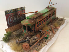"TROLLEY CAR DIORAMA... ""Last Stop""     (8 1/2 X 3) Handmade by seller  HO"