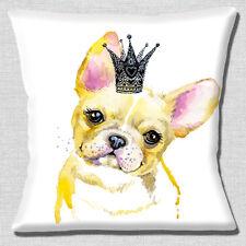 Carino Bulldog Francese Copricuscino 16 pollici 40cm cerbiatto cane indossa CORONA artistica
