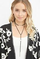 Women Lady retro BOHO Black Syn Suede leather double Long Necklace Strap tie