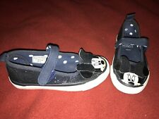 Girls Minnie Mouse Glitter Navy Canvas Slip On Shoes Flats Plimsolls Size 8 VGC