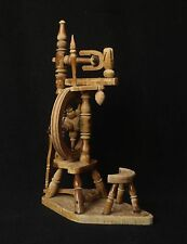 Nice Vintage Wooden Spinning Wheel Mini Weaving Loom Model Sample