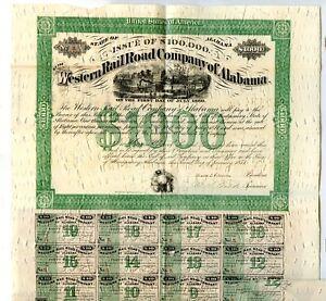 1871 $1,000  Montgomery, Alabama.  Western Railroad  Company  of Alabama