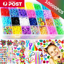 10000pcs Large Rainbow Loom Rubber Bands Case Kit Board Hooks Bracelet DIY Toys