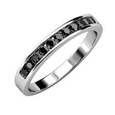 3MM 0.50Ct Round Black Diamond Half Eternity Ring In White Gold