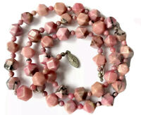 Vintage Faceted Pink Agate Bead Necklace 25 Inches Long - GIFT BOXED