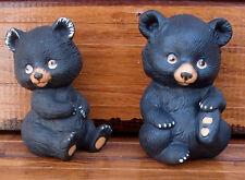 Pair Vintage Lefton Black Bear Cub Hand Painted Porcelain Figures Figurines 1983