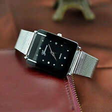 Latest Design Stainless Steel Mesh Bracelet Analog Quartz Rectangle Wrist Watch