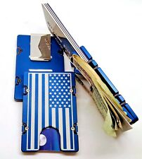 American Flag, Billet Aluminum Wallet/Credit Card Holder, RFID Protection, Blue