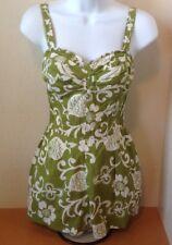 "Vintage 1950 60s Kahala Ladies Green Pineapple Lined Swim Bathing Suit Bust 13"""