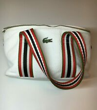 Lacoste, sports bag for women, white, with red stripes, roomy. Stylish.leather