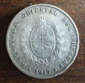 1917 URUGUAY 50 CENTS SILVER