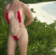 RED SEXY MINI MICRO THONG SLINGSHOT BIKINI, ONE SIZE - USA SELLER