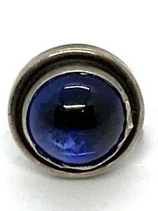 Georg Jensen Sterling Silver Blue Stone Single Clip-on Earring