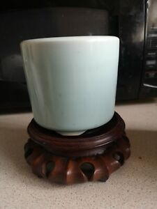 Chinese  antique Clair de lune brush pot and wood stand