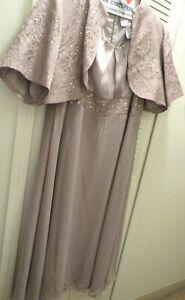 David's Bridal Mother Of Bride Sz  22W  Golden Olive Beaded Gown Jacket Set