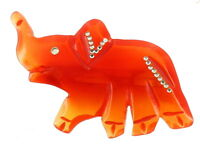 """Vintage Stylized Amber Lucite Up Trunk Elephant Pin With Rhinestones 3"""""""