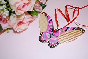 Pink Wood Butterfly Comb Vintage Multi Color Hand Craft, Hand Painted Hair Comb