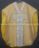 New Yellow Chasuble.St. Philip Neri Style vestment & mass set 5 pc, IHS, New