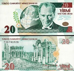 Turkey 20 Ytl / Lira 2005, UNC, P-219, Prefix F