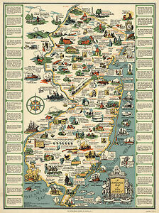 """1935 Pictorial Historical Map New Jersey 11""""x14"""" Wall Art Poster Print Genealogy"""