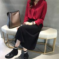 Women Shirt Temperament V Neck Long sleeve Chiffon Blouses Office Ladies S