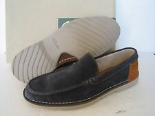 NEW CLARKS EXTRA LIGHT HINTON SUN NAVY SOFT SUEDE SHOES SIZE 8.5