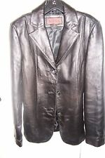 SIENA by G-lll women's black leather jacket / coat size 6, buttons ex-con