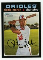 2020 Topps Heritage #277 RICHIE MARTIN Baltimore Orioles 1971 STYLE CARD