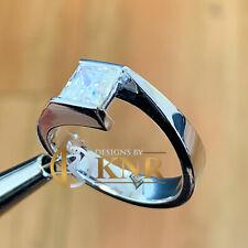 14K WHITE GOLD PRINCESS CUT DIAMOND ENGAGEMENT RING TENSION SET BRIDAL 0.70CT
