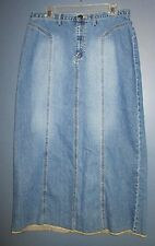 SONOMA Stonewashed Denim MAXI Jean Skirt 12 14 Long Paneled Light Frayed Hem