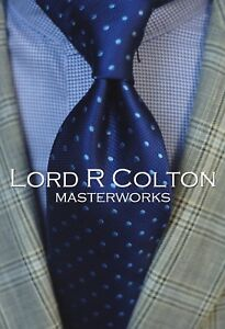 Lord R Colton Masterworks Tie - Limited Edition Madrid Blue Dot Necktie - New