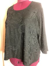 "NWT-Dialogue 3X 56"" Bust 4X? Black Floral Textured Career Blouse Top Shirt TT16"