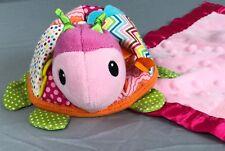 Infantino Turtle Pink Baby Security Blanket Plush Bell Rattle Teether Ladybug