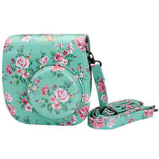 Vintage Floral Instax Mini8 Camera Leather Case Shoulder Bag Cover For Fujifilm