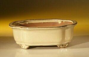 Beige Ceramic Bonsai Pot - Oval