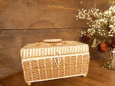 Green Vintage Sewing Basket Notions Box Woven Decorative Trinket Storage Used