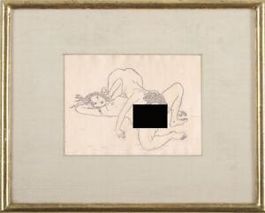 Modern Mario Tauzin Sketch Nude Portrait Reflection Drawing Woman Erotic Lesbian
