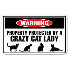 Warning Protected By Crazy Cat Lady Sticker Funny Car Stickers Novelty Decals...