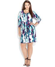 "Calvin Klein Plus Size Three-Quarter-Sleeve Geo-Print Dress ""1X"" MSRP$109.50"