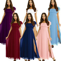 Womens Ruffled Waist Dress Cocktail Party Evening Formal Wedding Bridesmaid Gown
