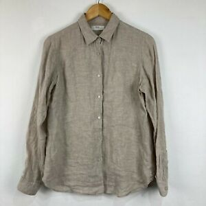 Uniqlo Mens Linen Button Up Shirt Size M Medium Beige Long Sleeve Collared