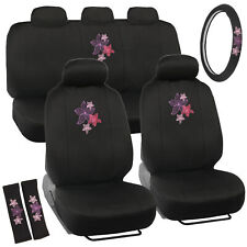 Car Seat Covers Protectors & Steering Wheel Cover - Pink & Purple Flowers