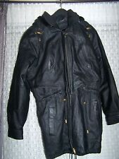 Womens Ladies SERGIO VADDUCCI LEATHER COAT Black Zipper Jacket M Insulated New