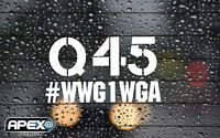 #WWG1WGA Q 45 Anon Anonymous Patriotic Trump white Vinyl Sticker + Free Q Decal!